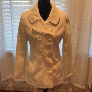 Winter white wool blend coat